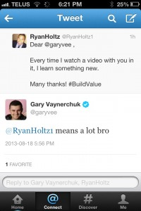Gary Vaynerchuk responding to a tweet I mentioned him in.