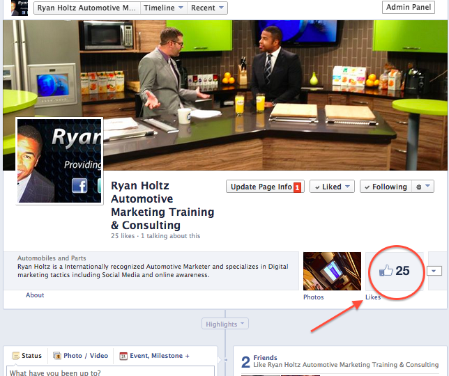 Note: This is an example of what a Business Facebook Fan Page would look like.