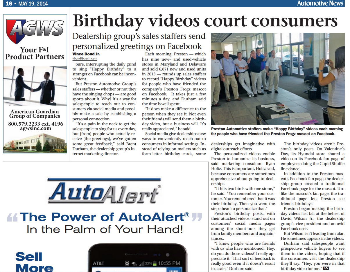 """I was featured in the May 19, 2014 Automotive News Article titled: """"Facebook Videos Court Car Buyers Into Showroom"""""""